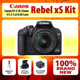 Canon EOS Digital Rebel xS (EOS-1000D) Digital SLR Camera With 18-55mm IS Lens Kit + Medium Size Tripod + Soft Deluxe Carrying Case + Extra Extended Life Battery