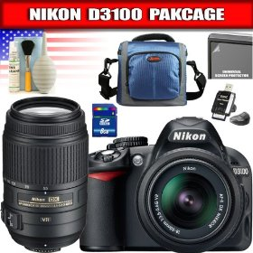 Nikon D3100 14.2MP Digital SLR Camera with 18-55mm f/3.5-5.6G AF-S DX VR Nikkor Zoom Lens + AF-S DX NIKKOR 55-300mm f/4.5-5.6G ED VR Package 1