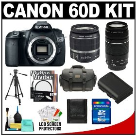 Canon EOS 60D Digital SLR Camera Body with 18-55mm IS & 75-300mm III Lens + 16GB Card + Battery + Case + Tripod + Accessory Kit