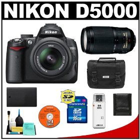 Nikon D5000 Digital SLR Camera w/ 18-55mm VR Lens + Nikon 70-300mm VR Lens + 16GB Memory Card + Spare EN-EL9 Battery + Case + Cameta Bonus Accessory Kit