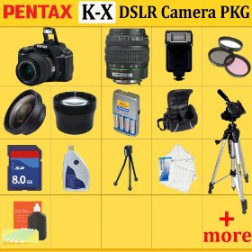 Pentax K-x Digital SLR Camera Kit(black), with 18-55mm Da Lens + Huge Accessories Package Including Wide Angle Macro Lens + 2x Telephoto + 3 Pc Filter Kit + 8gb Sdhc Memory Card + Aa Batteries with Charger + Carrying Case + Tripod & Much More !!