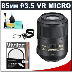 Nikon 85mm f/3.5 G VR AF-S DX ED Micro-Nikkor Lens + UV Filter + Accessory Kit for Nikon D300s, D300, D40, D60, D5000, D7000, D90, D3000 & D3100 Digital SLR Cameras