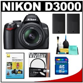 Nikon D3000 Digital SLR Camera & 18-55mm G VR DX AF-S Zoom Lens with 16GB Card + (2x) EN-EL9a Battery + UV Filter + Cleaning Kit