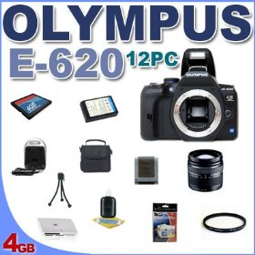 Olympus Evolt E620 Digital SLR Camera with 14-42mm f/3.5-5.6 Zuiko Lens BigVALUEInc Accessory Saver 12PC 4GB Card And More