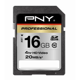 PNY Professional 16 GB Class 10 Hi-Speed SDHC 20MB/s 133x Flash Memory Card P-SDHC16G10-EF (Black)