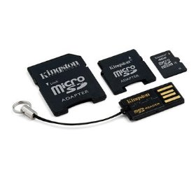 Kingston Mobility Kit - 4 GB microSDHC Flash Memory Card with SD and miniSD Adapters + USB Reader MBLYG2/4GB
