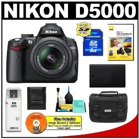 Nikon D5000 Digital SLR Camera w/ 18-55mm VR Lens + 8GB Memory Card + Spare EN-EL9 Battery + Case + Cameta Bonus Accessory Kit