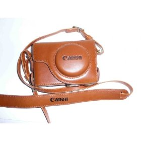 Leather Camera Case Bag w/Strap for Canon Powershot S95 -BROWN