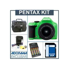 Pentax K-x Digital SLR Green Camera Kit with Black 18-55mm DA-L Lens, 4GB SD Memory Card, 4 AA Nickel Metal Hydride (NiMH) 2900 mAH Rechargeable Batteries with 4-Hour AA & AAA Quick Charger, 110/220 volt. Camera Bag, Digital Camera & Lens Cleaning Kit