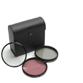 52mm High Resolution 3-piece Filter Set (UV, Fluorescent, Polarizer) - Black - for Nikon D40, D60