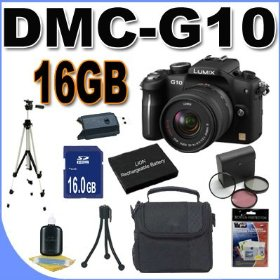 Panasonic Lumix DMC-G10 12.1 MP Live MOS Interchangeable Lens Camera with 14-42mm Lumix G Vario f/3.5-5.6 MEGA OIS Lens BigVALUEInc Accessory Saver 16GB Bundle