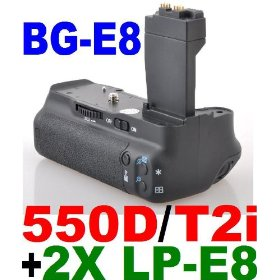 Battery Grip BG-E8 for Canon EOS 550D / Rebel T2i SLR Digital Camera + 2x LP-E8 Lithium Ion Rechargeable Batteries