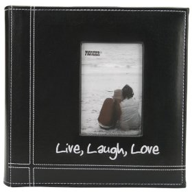 Pioneer Embroidered Stitched Leatherette Photo Album, 9-Inch-by-9-Inch, Black Live/Laugh/Love