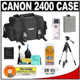 Canon 2400 Digital SLR Camera Case Gadget Bag + Tripod + LP-E5 Battery + Accessory Kit for EOS Rebel XS, XSi, & T1i