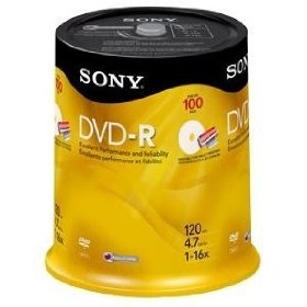 Sony 16x 4.7GB Inkjet Printable Blank DVD-R (100-Pack Spindle)