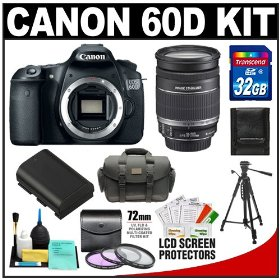 Canon EOS 60D Digital SLR Camera Body with 18-200mm IS Lens + 32GB Card + Case + Tripod + Accessory Kit