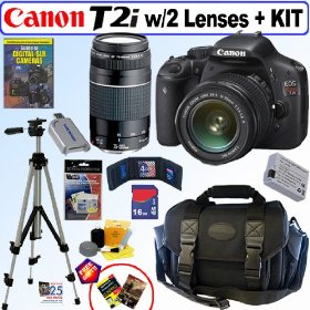 Canon EOS Rebel T2i 18 MP CMOS APS-C Digital SLR Camera with EF-S 18-55mm f/3.5-5.6 IS Lens & EF 75-300mm f/4-5.6 III Telephoto Zoom Lens + 16GB Deluxe Accessory Kit