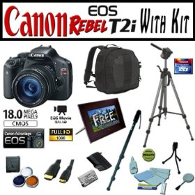 Canon EOS Rebel T2i 18.0 MP Digital SLR Camera Advanced Starter Holiday Kit with EF-S 18-135mm f/3.5-5.6 IS, Opteka 7