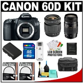 Canon EOS 60D Digital SLR Camera Body with Tamron 28-80mm & 70-300mm Lens + 16GB Card + Battery + Case + Accessory Kit