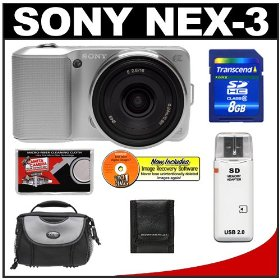 Sony Alpha NEX-3 Digital Camera Body & E 16mm f/2.8 Compact Interchangeable Lens (Silver) with 8GB Card + Battery + Case + Accessory Kit