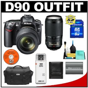 Nikon D90 Digital SLR Camera with 18-105mm DX VR + Nikon 70-300mm AF-S ED-IF VR Zoom-Nikkor Lens + 8GB Card + Battery + Case + Cameta Bonus Accessory Kit