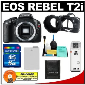 Canon EOS Rebel T2i 18.0MP Digital SLR Camera (Black) with 16GB SD Card + Battery + Camera Armor + Accessory Kit