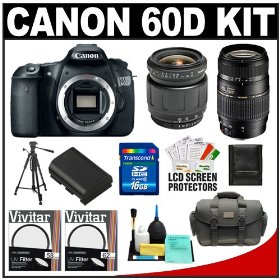 Canon EOS 60D Digital SLR Camera Body with Tamron 28-80mm & 70-300mm Lens + 16GB Card + Battery + Case + Tripod + Accessory Kit