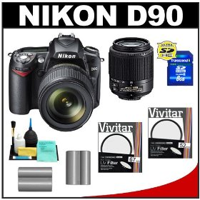 Nikon D90 Digital SLR Camera with 18-105mm VR + 55-200mm AF-S DX Zoom-Nikkor Lens + 8GB Card + (2x) UV Filters + (2x) EN-EL3e Batteries + Accessory Kit
