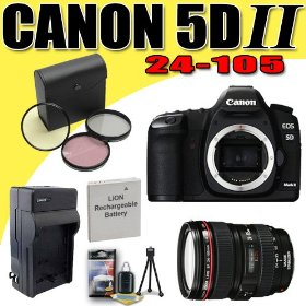 Canon EOS 5D Mark II 21.1MP Digital SLR Camera w/ EF 24-105mm f/4 L IS USM Lens DavisMAX LPE6 Battery/Charger Filter Kit Bundle