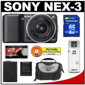 Sony Alpha NEX-3 Digital Camera Body & E 16mm f/2.8 Compact Interchangeable Lens (Black) with 8GB Card + Battery + Case + Accessory Kit