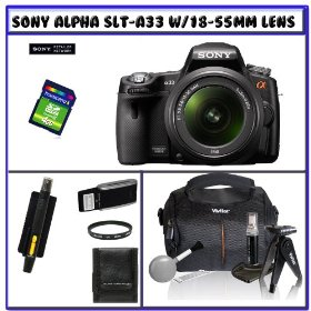 Sony SLT-A33L Alpha DSLR SLTA33 14.2MP Digital Camera with 18-55mm f/3.5-5.6 DT AF Zoom Lens + 14Pc Starter Pack # 1