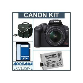 Canon EOS Rebel XS Digital SLR Camera Kit,w/ EFS 18-55mm IS Lens - Black - Refurbished - with 4GB SD Memory Card, Spare LP-E5 Lithium-Ion Rechargeable Battery, Slinger Camera Bag
