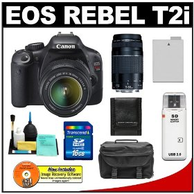 Canon EOS Rebel T2i Digital SLR Camera & 18-55mm IS Lens + EF 75-300mm III Zoom Lens + 16GB Card + Battery + Case + Accessory Kit