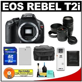 Canon EOS Rebel T2i Digital SLR Camera + 28-80mm & 70-300mm Zoom Lens + 8GB Card + Battery + Case + Accessory Kit