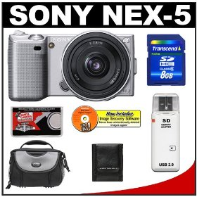Sony Alpha NEX-5 Digital Camera Body & E 16mm f/2.8 Compact Interchangeable Lens (Silver) with 8GB Card + Battery + Case + Accessory Kit