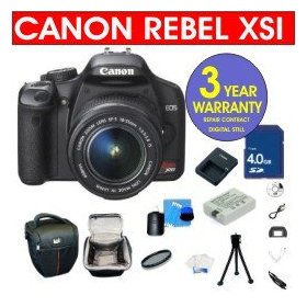 Canon EOS Rebel XSI 12.2 MP Digital SLR Camera with EF-S 18-55mm IS Lens + 4 GB Memory Card + 6 Piece Accessory Kit + Camera Holster Case + Multi-Coated Glass UV Filter + 3 Year Warranty Repair Contract