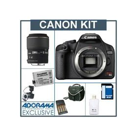 Canon EOS Digital Rebel T1i SLR Camera Dental Kit - Economy Version - Black Finish- - with Sigma 105/2.8 Macro Lens, Adorama Macro Ring Flash, Spare LP-E5 Type Battery, AA NiMH Batteries w/Charger, 8GB SD Memory Card, Card Reader, Backpack / Shoulder Bag