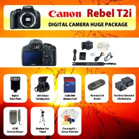 Canon EOS Rebel T2i (550D) Digital SLR Camera Body + 2 Extended Life Batteries + Battery Charger + 32 GB Memory Card + Card Reader + Tripod + Carrying Case + Starter Kit + Digital Flash and more!!