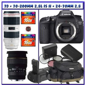 Canon EOS 7D SLR Digital Camera (Body Only) + Canon EF 70-200mm f/2.8L IS II USM Lens + Sigma 24-70mm f/2.8 EX DG Macro DF Lens + Canon Gadget Bag + Canon 7D Battery Grip + Canon 7D Battery Pack + 32GB CF Deluxe Adventures Package