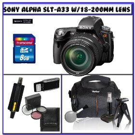 Sony SLT-A33L Alpha DSLR SLTA33 14.2MP Digital Camera with SAL-18200 18-200mm f/3.5-6.3 DT Aspherical Autofocus Lens + 14Pc Starter Pack # 3