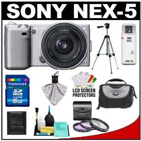 Sony Alpha NEX-5 Digital Camera Body & E 16mm f/2.8 Compact Interchangeable Lens (Silver) with 16GB Card + Battery + Case + Tripod + Accessory Kit