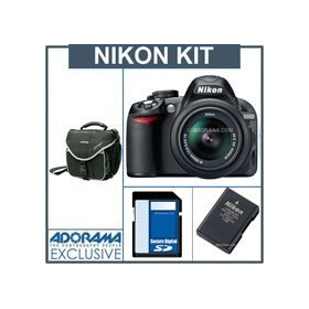 Nikon D3100 Digital SLR Camera Kit with 18-55mm NIKKOR VR Lens, 4GB SD Memory Card, Spara Nikon EN-EL14 Rechargeable Lithium-ion Battery, Slinger Camera Bag
