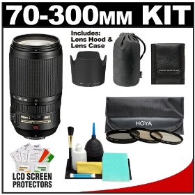 Nikon 70-300mm f/4.5-5.6G ED IF AF-S VR Digital SLR Zoom Lens with HB-36 Hood & Pouch Case + 3 UV/CPL/Warm Filters + Accessory Kit for D3000, D3100, D5000, D7000, D90, D300s, D700 & D3S DSLR