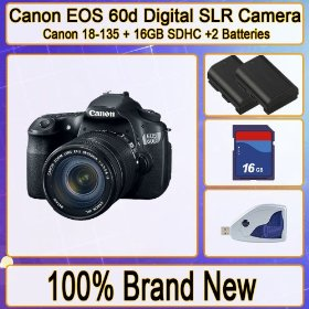 Canon EOS 60d 18 Mp Cmos Digital SLR Camera with 3.0-inch LCD + Canon 18-135mm F/3.5-5.6 Is Ud Standard Zoom Lens + 2x Extended Long Life Batteries + 16gb Sdhc Memory + Memory Card Reader Kit