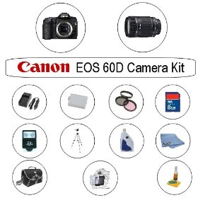 Canon EOS 60D 18 MP CMOS Digital SLR Camera with 18-135mm f/3.5-5.6 IS Lens and 8GB Huge Accessory Kit