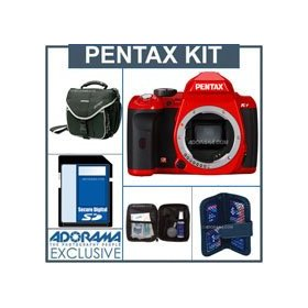 Pentax K-r Digital SLR Camera Body Only Kit - Red - 4GB SD Memory Card, Camera Bag, Professional Lens Cleaning Kit, Digital Memory Case