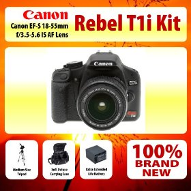Canon EOS Rebel T1i Digital SLR Camera Kit with EF-S 18-55mm f/3.5-5.6 IS Lens Kit + Medium Size Tripod + Soft Deluxe Carrying Case + Extra Extended Life Battery