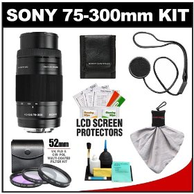 Sony Alpha 75-300mm f/4.5-5.6 Zoom Lens with 3 UV/CPL/FLD Filter Set + Cleaning & Accessory Kit for A33, A55, A560, A580, A230, A330, A380, A450, A500, A550, A850 & A900 Digital SLR Cameras