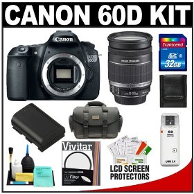 Canon EOS 60D Digital SLR Camera Body with 18-200mm IS Lens + 32GB Card + Case + Accessory Kit