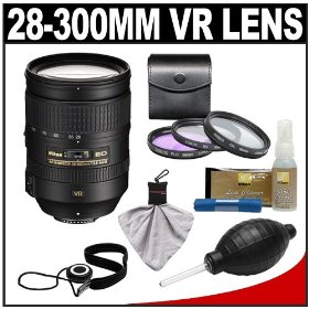 Nikon 28-300mm f/3.5-5.6 G VR AF-S ED Zoom-Nikkor Lens with 3-Piece Filter Set + Cleaning Accessory Kit for D3s, D3x, D3, D7000, D300s, D90, D5000, D3100, D3000 Digital SLR Cameras